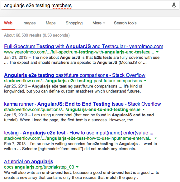 AngularJS e2e testing matchers google search